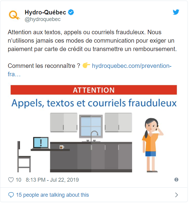 Hydro-Québec has posted a tweet to warn its customers about the cyber attack