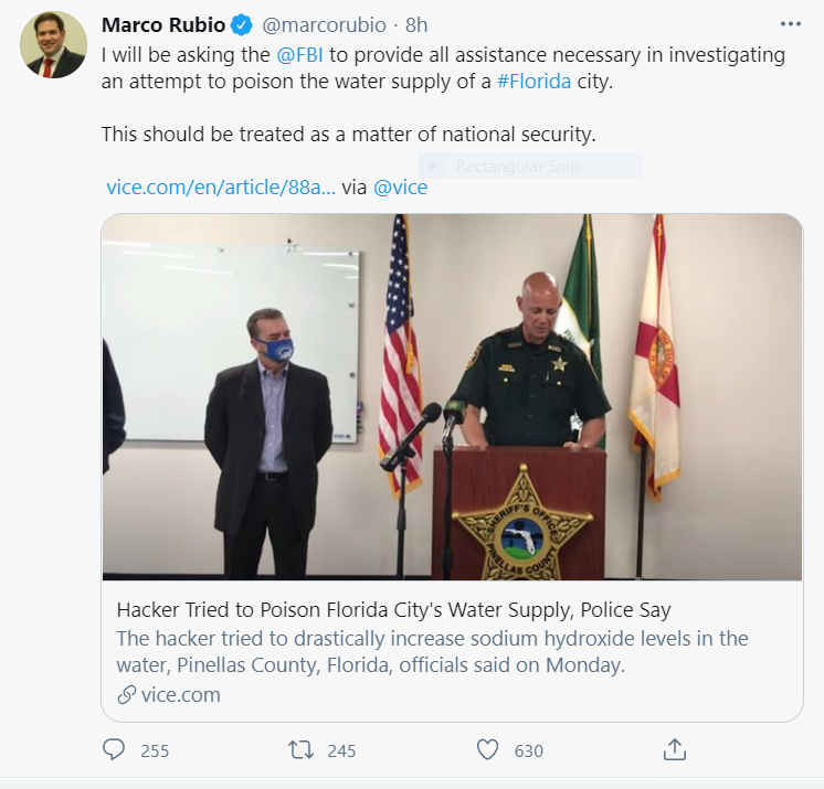FLorida Water Supply Cyber Attack