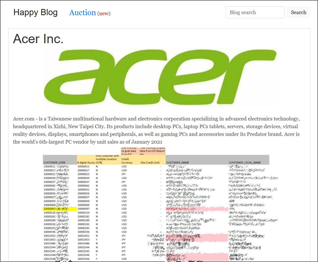 Acer Cyber Attack