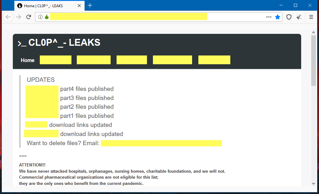 Data Leaked by Clop Ransomware Gangs